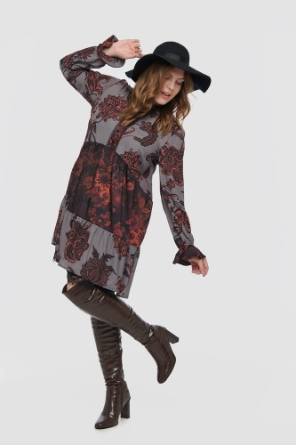 Sukienka Matex Plus Size Autumn Brown