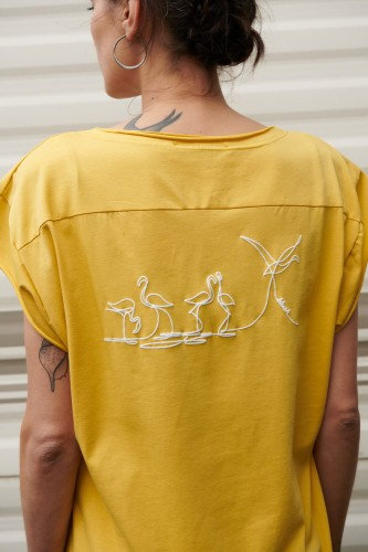 T-shirt Birds Bs Misty Yellow