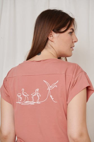 T-shirt Birds Plus Size Rusted Rose