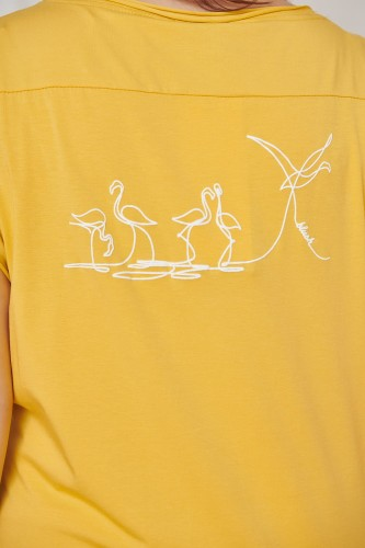 T-shirt Birds Plus Size Misty Yellow